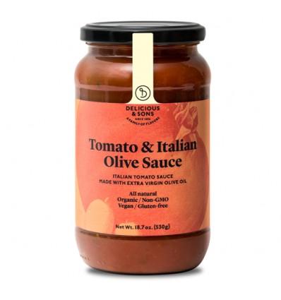 Salsa de tomate con aceitunas Italianas ecológica