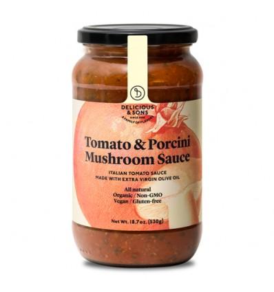 Salsa de tomate con setas porcini ecológica